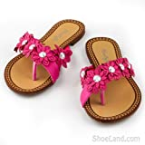 Livy Toe Loop Thong Sandals with Rhinestones and Flowers