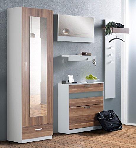 Garderoben-Set-Nando-5-tlg-nussbaum-wei-Paneel-Spiegel-Schrank-Board-Schuhschrank-Wandspiegel-Garderobe-Wandpaneel