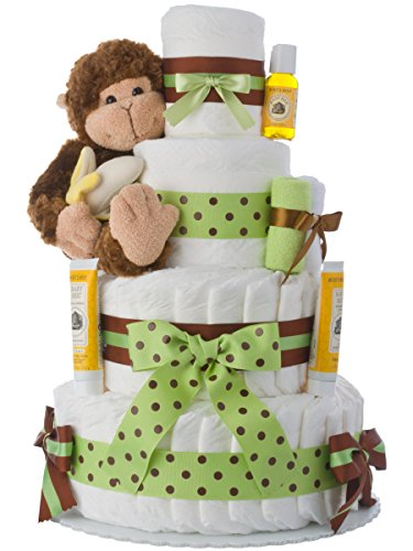 Diaper Cake - Monkey Theme Handmade By Lil Baby Cakes - Gift For Baby Boy - Makes a Great Baby Shower Centerpiece