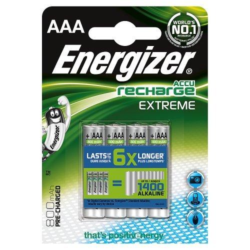 Energizer 638629 Extreme Batteria Ricaricabile, 800 mAh, (4 Pezzi)