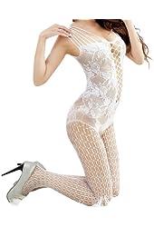 Sexy Women Full Body Open Crotch FishNet Lingerie Pantyhose Stockings (White)