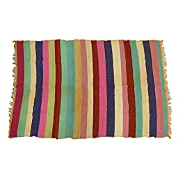 Multicolor Floor Mat Throw Recycled Cotton Rags Chindi Rug Hand Woven 68\