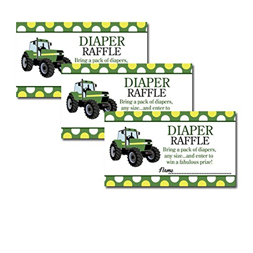 Green Tractor Farm Theme Baby Shower Diaper Raffle Tickets 20-pack