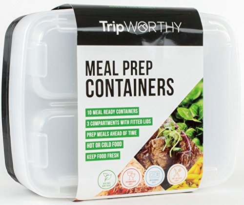 Meal Prep Containers with 3 Compartments - Portion Control, BPA-Free, Reusable, Microwave Safe Bento-Style Boxes, Set of 10 (Adult Pasta compare prices)