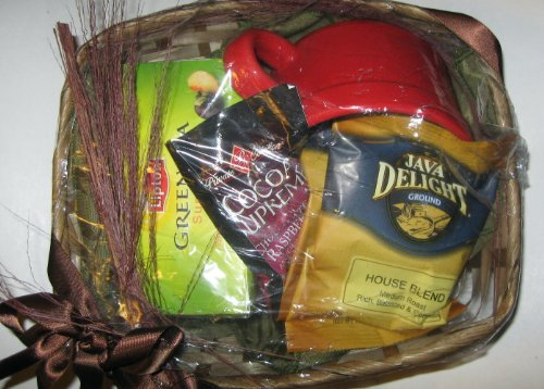 Java Delight Coffee, Lipton Tea & P.S. Cocoa Supreme + Large Red Mug Gift Basket