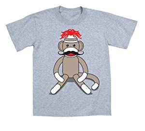 Sock Monkey Moustache - Toddler Shirt - ATHLETIC HEATHER - 3T