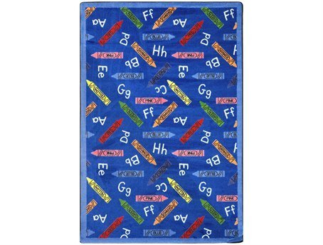 "Joy Carpets Playful Patterns Children's Crayons Area Rug, Blue, 5'4"" x 7'8"" - 1"