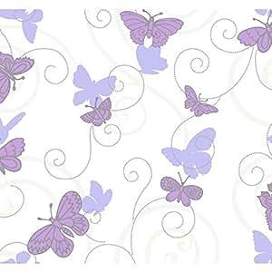 Grow Butterfly Wallpaper, White/Purple/Lavender/Silver - - Amazon.com