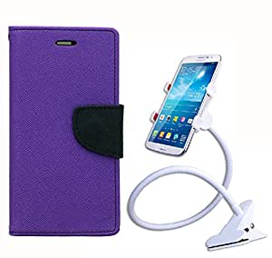 Aart Fancy Diary Card Wallet Flip Case Back Cover For Samsung Note 3 new - (Purple) + 360 Rotating Bed Tablet Moblie Phone Holder Universal Car Holder Stand Lazy Bed Desktop for by Aart store.