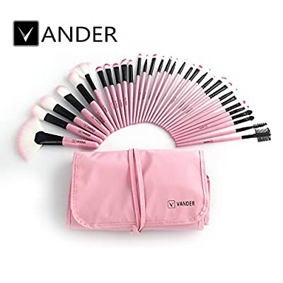 32pcs Vander Professional Soft Vander SCI Cosmetics Blue Eyebrow Shadow Makeup Brush Set Kit + Pouch Bag