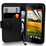 Supergets® HTC One S Wallet PU Leather Case Covers, Screen Protector, Touch Screen Stylus + Polishing Cloth - Black