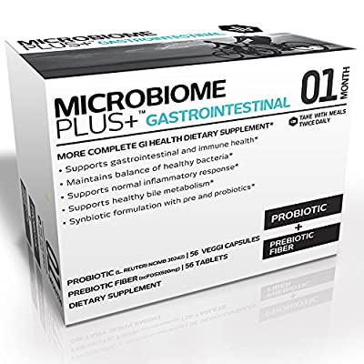 Microbiome Plus+ GI - Ultimate Probiotic and Prebiotic Supplement - Best for Digestive and Intestinal Health - Boost Immune and Helps Weight Loss - Advanced Probiotic and Prebiotic Combination for Women and Men - Probiotic L. reuteri NCIMB 30242 and Prebi