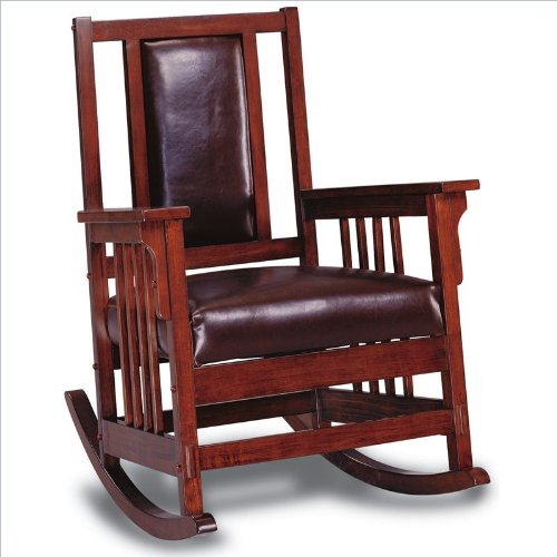 Coaster Mission Style Rocking Wood And Leather Chair Rocker front-13641