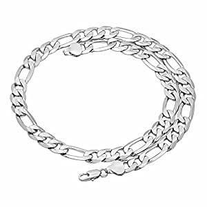 10mm Silver Plated Figaro Chain Necklace, 30