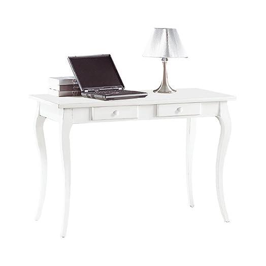 Scrittoio, stile classico, in legno massello e mdf con rifinitura in bianco opaco - Mis. 120 x 60 x 78