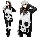 Womens Skull Print Long Sleeve Scoop Neck Tunic Sweater by NYC Leather Factory Outlet