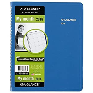 AT-A-GLANCE Monthly Planner 2016, Fashion Color, 12 Months, 6.88 x 8.75 Inch Page Size, Blue (7012420)