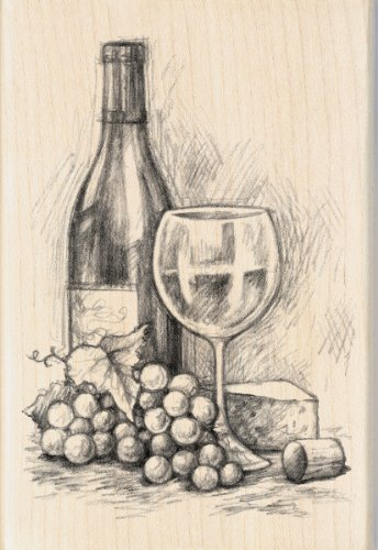 Inkadinkado Mounted Rubber Stamp, 4 by 2.75-Inch, Wine and Cheese