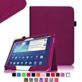 Fintie Folio Slim Leather Case for Samsung Galaxy Tab 3 10.1 inch Tablet Auto Sleep/Wake Book Style Stand Cover with Stylus Loop - Purple