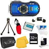 WG-4 GPS 16MP HD 1080p Waterproof Digital Camera Blue 32GB Kit Includes camera, 32GB SD Memory Card, Carry Case, Floating Wrist Strap, Battery, Card Reader, Mini Tripod, and More!