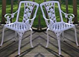 Metal Cast Aluminium Garden Carver Chairs x2 Rose Antique White gloss