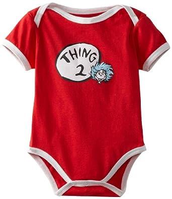 Bumkins Unisex Baby Newborn Dr Seuss Thing 2 Short Sleeve Bodysuit