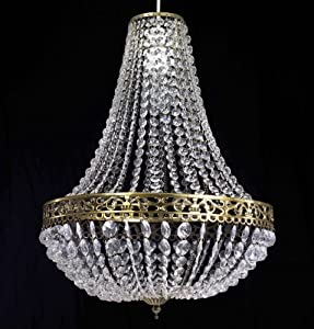 Chandelier Style Clear Acrylic Antique Brass Ceiling Light Shade Easy Fit Pendant by Dove Mill Lighting