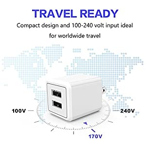 USB Wall Charger,Charger Adapter, Atizzy 2-Pack 2.1Amp Dual Port Fast Charger Plug Cube for iPhone X 8/7/6 Plus SE/5S/4S,iPad, iPod, Samsung, LG, HTC,