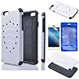 iphone 6 4.7'' Case - Sophia Shop Dual Layer Drop Protection Design 2 in 1 Apple iphone 6 4.7 inch Screen Case - [Multi-color Options] Hard Cover Combine Black TPU Soft Gel Middle Bumper Premium [Slim Thin] [Light weight] Fit Impact Resistant Protective Armor Rugged Hard Iphone 6 4.7'' Cover Case - [Shield Shape] Armor Defender Protective Tough Dual Layer Protection Case for Iphone 6 4.7'' Toughbox Carrier Compatibility At&t - Verizon - T-mobile - Sprint - All International and Unlock Carriers (White)