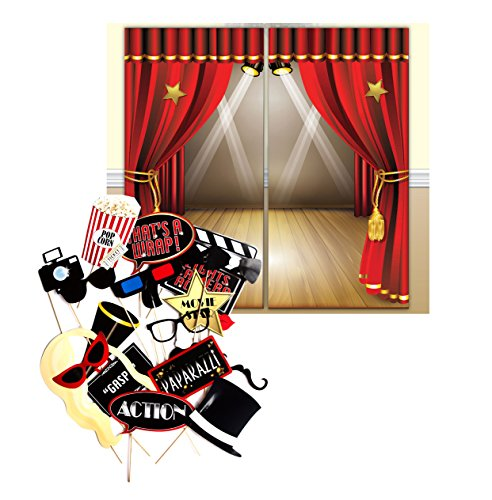 Hollywood Movie Themed Decoration Backdrop and Photo Booth Props by Express Novelties Online (Old Hollywood Table compare prices)