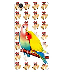 ColourCraft Love Birds Design Back Case Cover for OPPO F1 PLUS