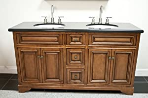 60 Solid Wood Antique Walnut Double Sink Vanity Cabinet