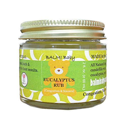 BALM! Baby EUCALYPTUS RUB - Natural Chest & Tummy Rub for Stuffy Noses & Chests and Nausea - 2 oz Glass Jar {Made in the USA!} - 1
