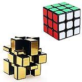 Ilinkbrand ルービックキューブ ミラーブロックス 2種類セット 立体パズル 3×3×3 スピードキューブ 57mm  (ゴールド)