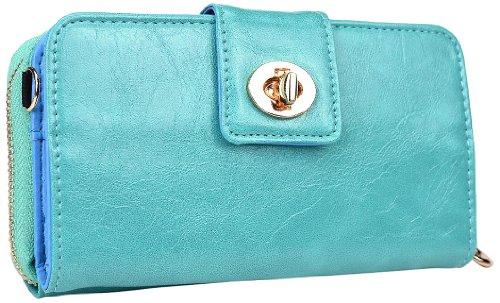 Kroo Magnetic Clutch Wallet For Lg G2 - Frustration-Free Packaging - Teal