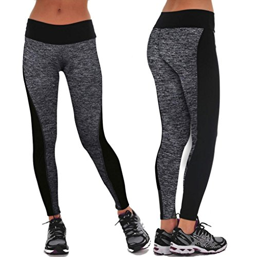 Gillberry Women Sports Trousers Athletic Gym Workout Fitness Yoga Leggings Pants (S, Gray)