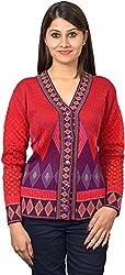 KTC Women's Wool Regular Fit Cardigan (651-V13, Red, 38)