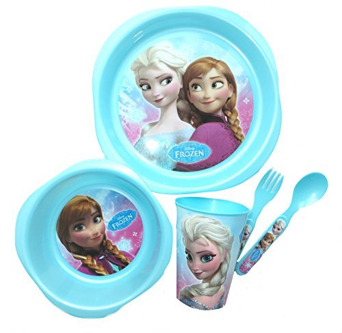 Disney - Set pappa in plastica, motivo: Frozen, 5 pezzi