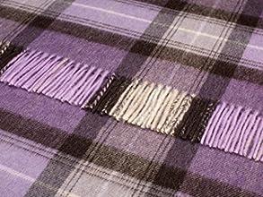 Wool Throw Blanket by Bronte - Merino Lambswool - Skye Check Lavender