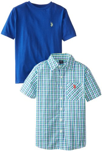 U.S. Polo Assn. Big Boys' Twofer Plaid Sport Shirt And Crew Neck T-Shirt Set, White/Blue/Green, 8