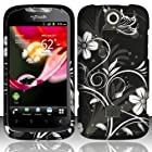 Black Flowers Hard Case Snap On Rubberized Cover For Huawei myTouch Q 2 U8730 (T Mobile)