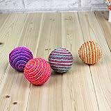 Pecute Nette Bunte Katzenspielzeug Sisal Ball Spielzeug Scratcher Spielball für Hunde Katze Farbezufällig