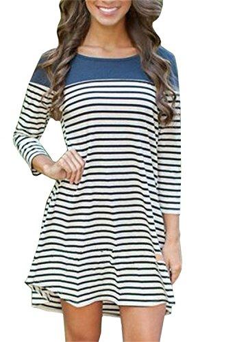 Women's Color Block Striped Tshirt Dress (XL, Blue)