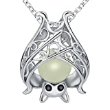 Sterling Silver Bat Pendant Charms Unique And Unisex vampire diaries Necklace damon ghost Christmas For Women And Girls And Mother With Glow In The Dark Long Jewelry Gift Chain 18 Inch