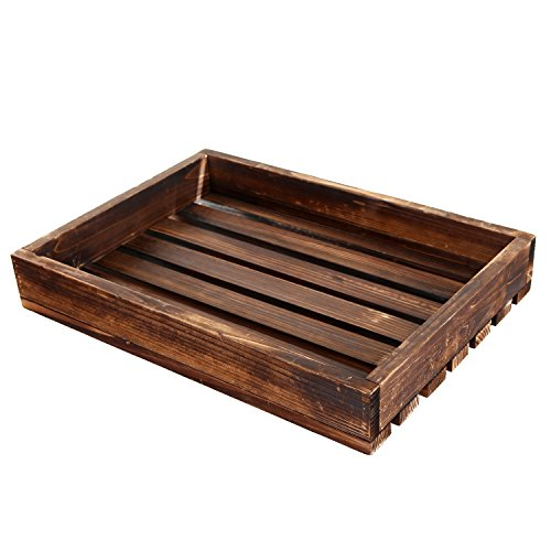 MyGift Rustic Wood Slat Breakfast Serving Tray, Rectangular Food Carrier, Brown