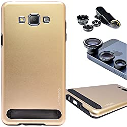 DMG Motomo Ultra Tough Metal Shell Case with Side TPU Protection for Samsung Galaxy A7 (Gold) + 3in1 Fisheye Wide Angle and Macro Lens