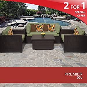 Premier 5 Piece Outdoor Wicker Patio Furniture Set - Cilantro 05B 2 Yr Fade Warranty by TKC