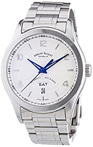 Armand Nicolet Men's Automatic Watch with Silver Dial Analogue Display and Silver Stainless Steel Bracelet 9740A-AG-M9740