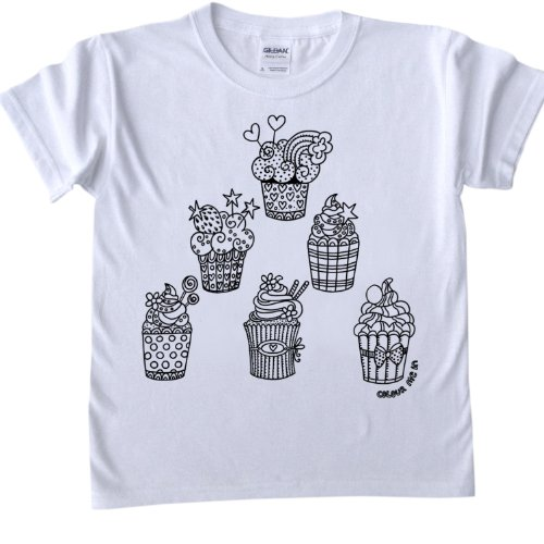 Cupcakes Design T-Shirt for colouring in.