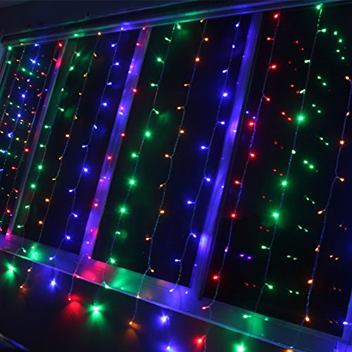 Led String Lights Home Hardware : Ucharge Curtain Strings of Colorful Lights 304led 9.8ft*9.8ft Colorful Christmas Curtain String ...